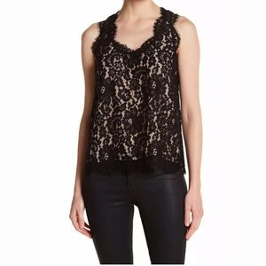 Joie Cina Black & Nude Lace Top